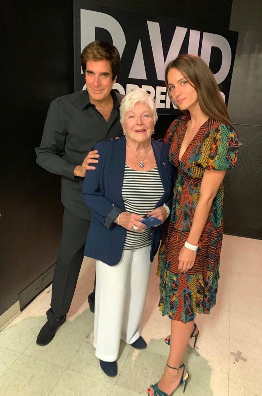 Line Renaud avec David Copperfield et sa femme Chloé à Las Vegas après le show de l'illusionniste.