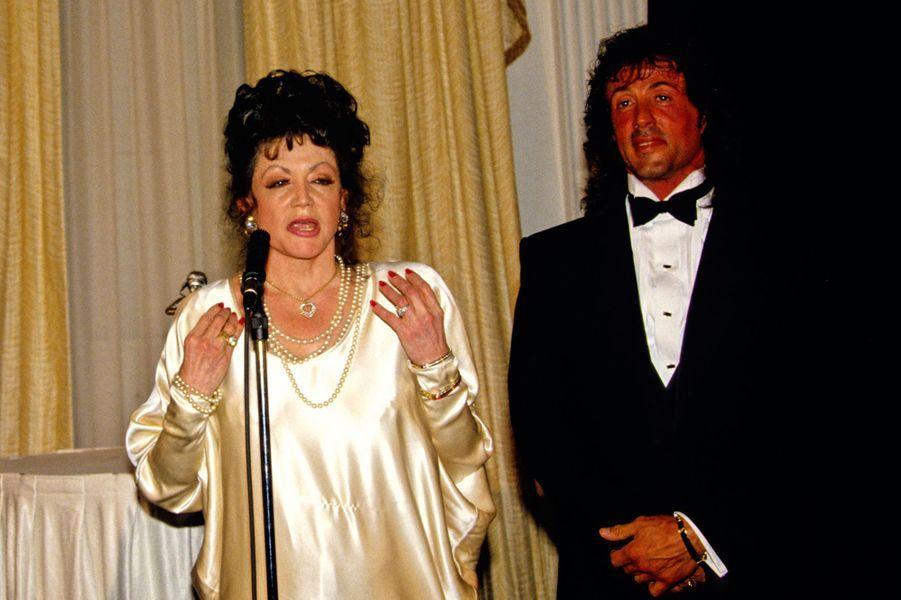 Jackie et Sylvester Stallone lors d'une soirée honorant l'acteur à Washington en 1988
