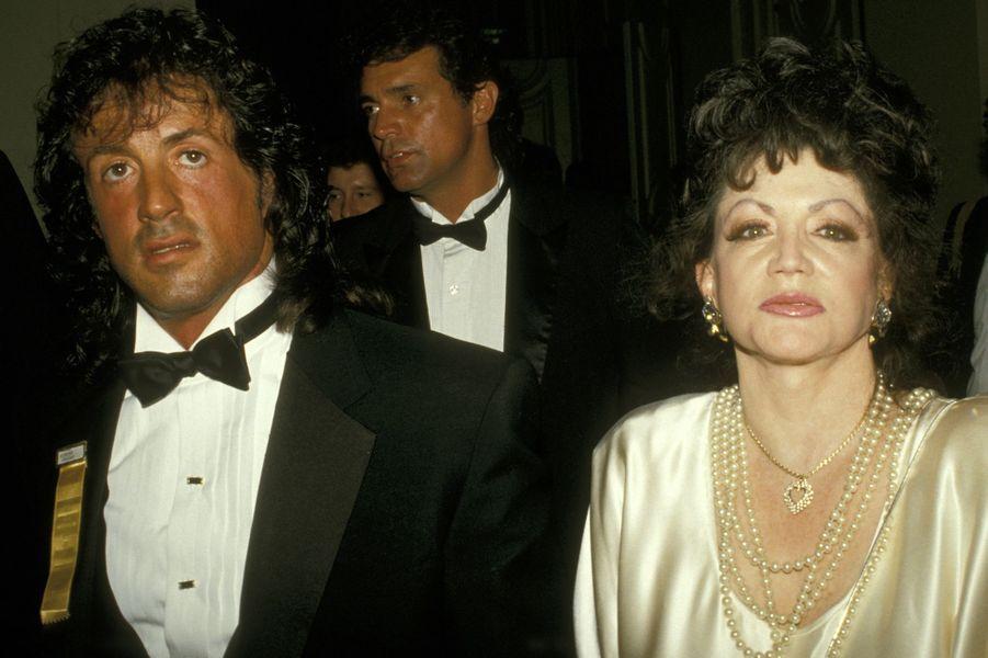 Sylvester etJackie Stallonelors d'une soirée honorant l'acteur à Washington en 1988
