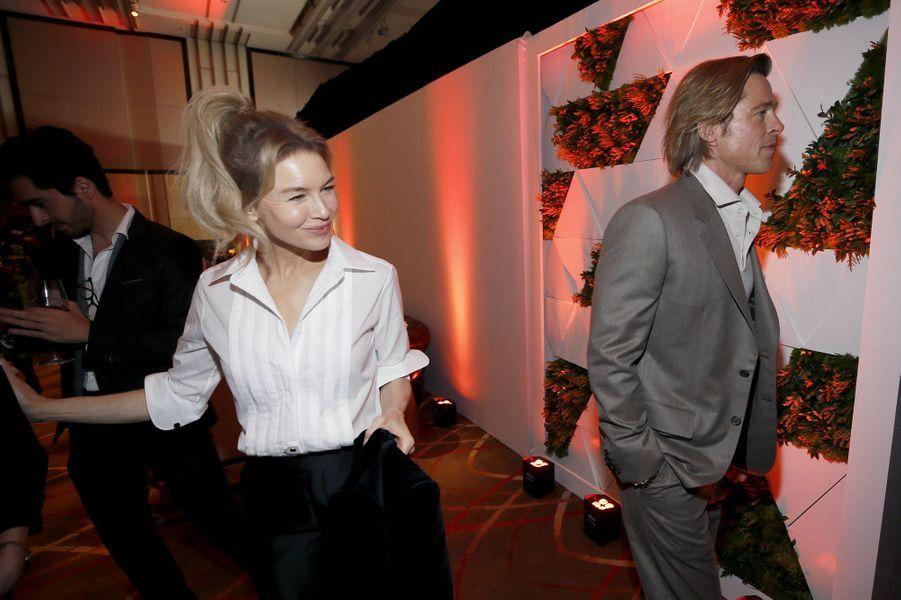 Renée Zellweger et Brad Pitt au déjeuner des nommés aux Oscars à Hollywood le 27 janvier 2020