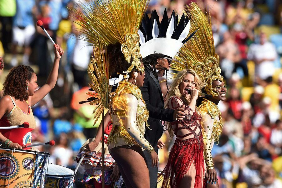 Shakira en juillet 2014 chante pour à Rio pour la Coupe du monde de football.