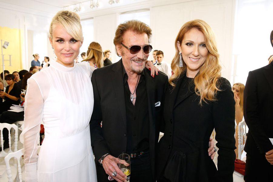 Céline Dion avec Johnny et Laeticia Hallyday à Paris en juillet 2016.