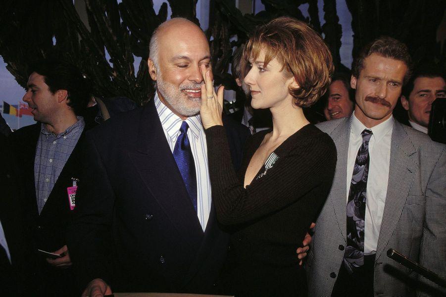 Céline Dion et René Angélil à Cannes en 1996.