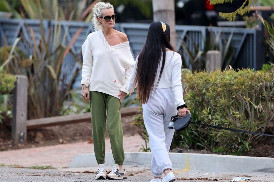 Laeticia Hallyday et sa fille Jadeà Los Angeles le 1er avril 2020