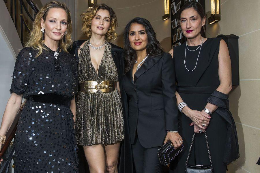 Uma Thurman, Laetitia Casta, Salma Hayek et Hélène Poulit-Duquesne,présidente-directrice générale de Boucheron, à la soirée Boucheron dimanche soir, à Paris