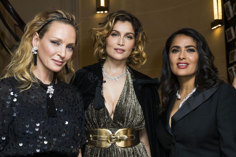 Uma Thurman, Laetitia Casta et Salma Hayek à la soirée Boucheron dimanche soir, à Paris