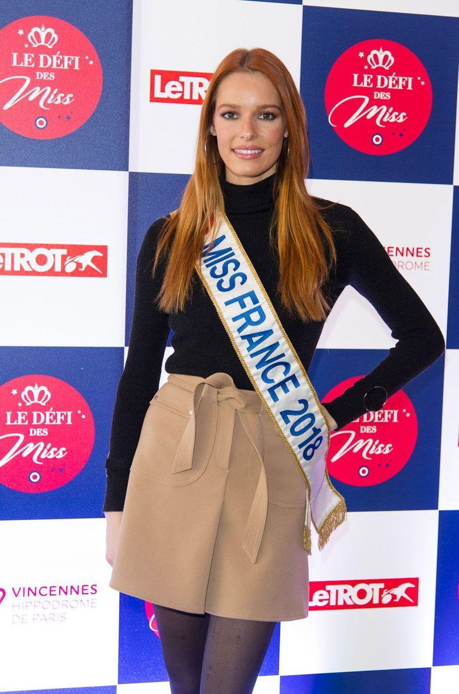 Maëva Coucke lors du Défi des Miss à l'hippodrome de Vincennes le 11 février 2018