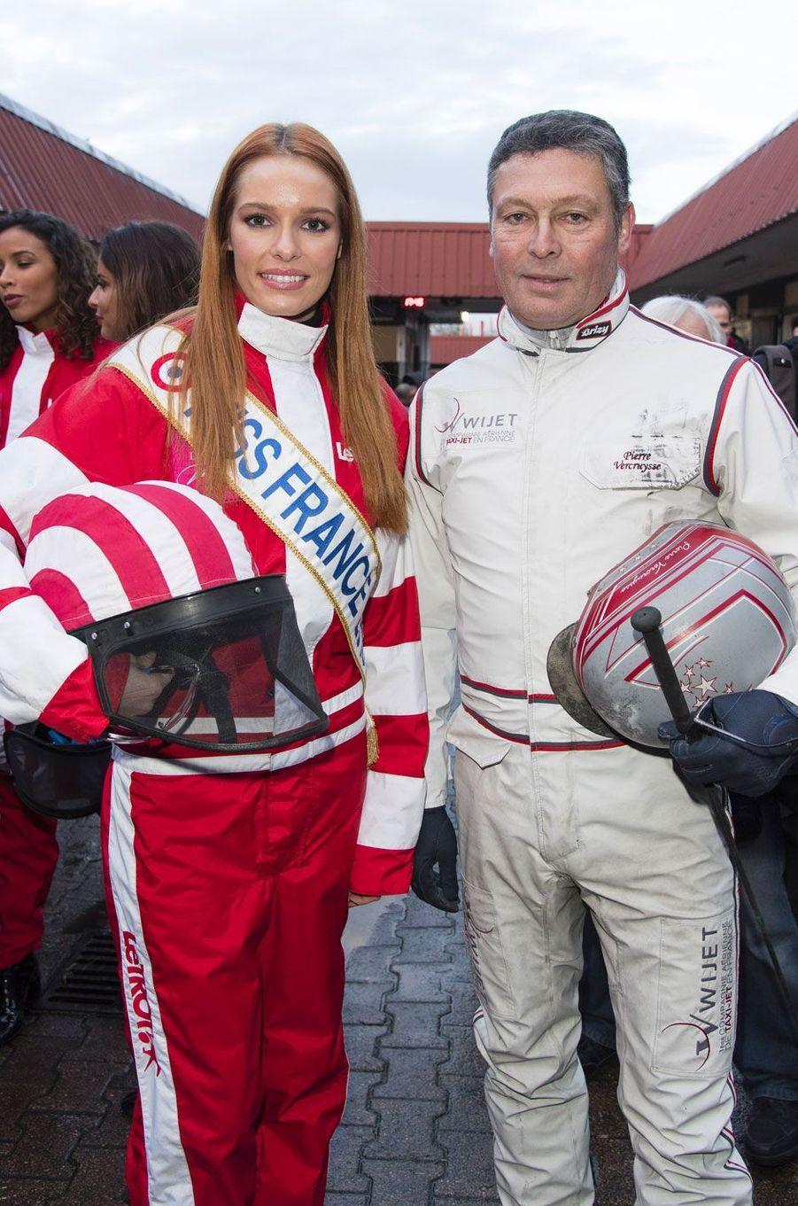 Maëva Coucke et Pierre Vercruysse lors du Défi des Miss à l'hippodrome de Vincennes le 11 février 2018
