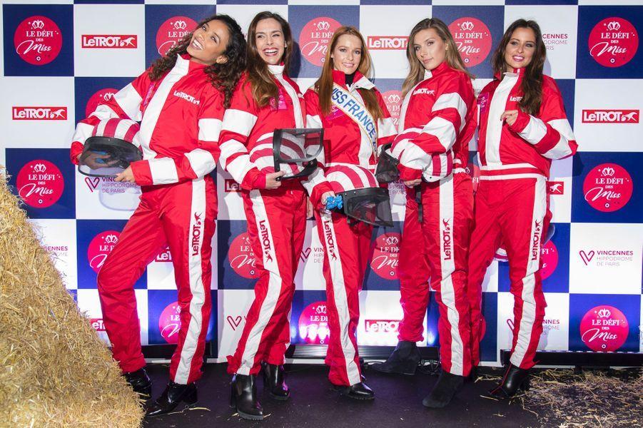 Les Miss lors du Défi des Miss à l'hippodrome de Vincennes le 11 février 2018
