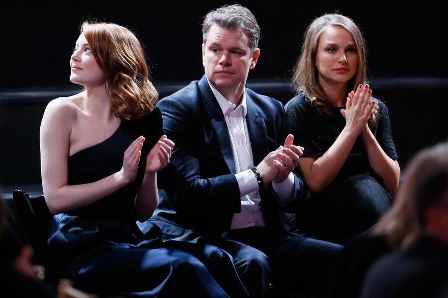 Emma Stone, Matt Damon et Nathalie Portman.