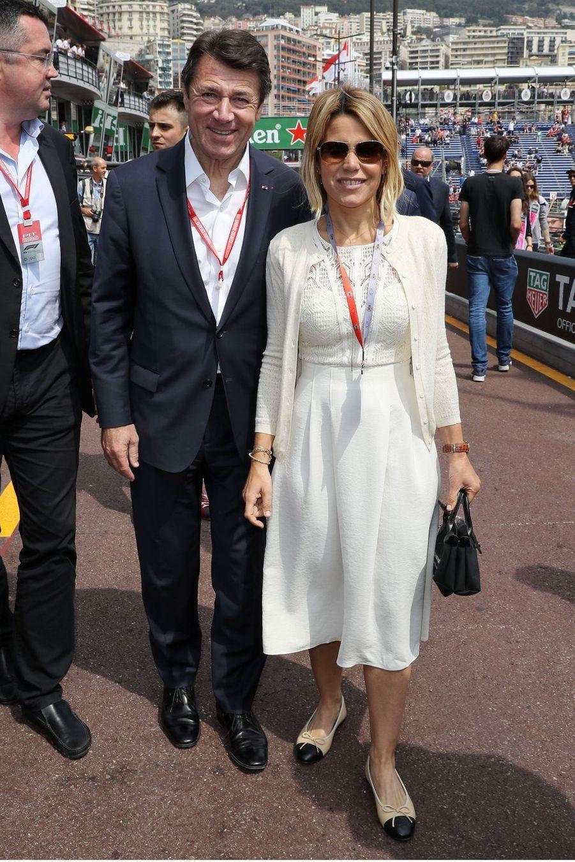 Christian Estrosi et sa femme Laura Tenoudji au Grand Prix de Formule 1 de Monaco le 25 mai 2019