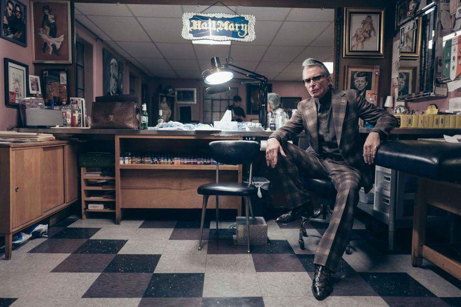 Mark Mahoney, tatoueur des stars, propriétaire de The Shamrock Social Club, sur Sunset Boulevard.