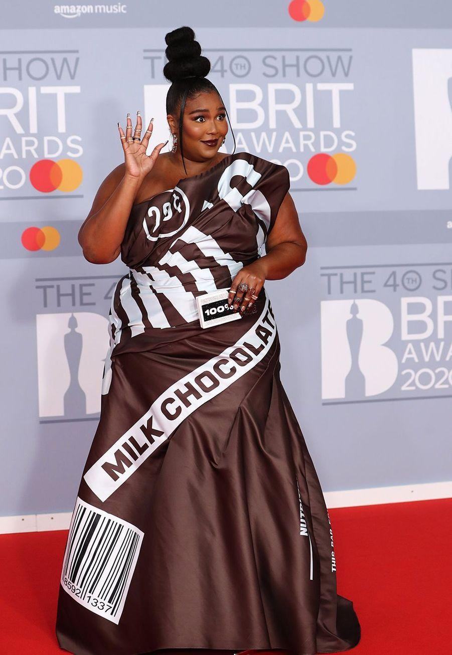 Lizzoaux Brit Awards à Londres le 18 février 2020