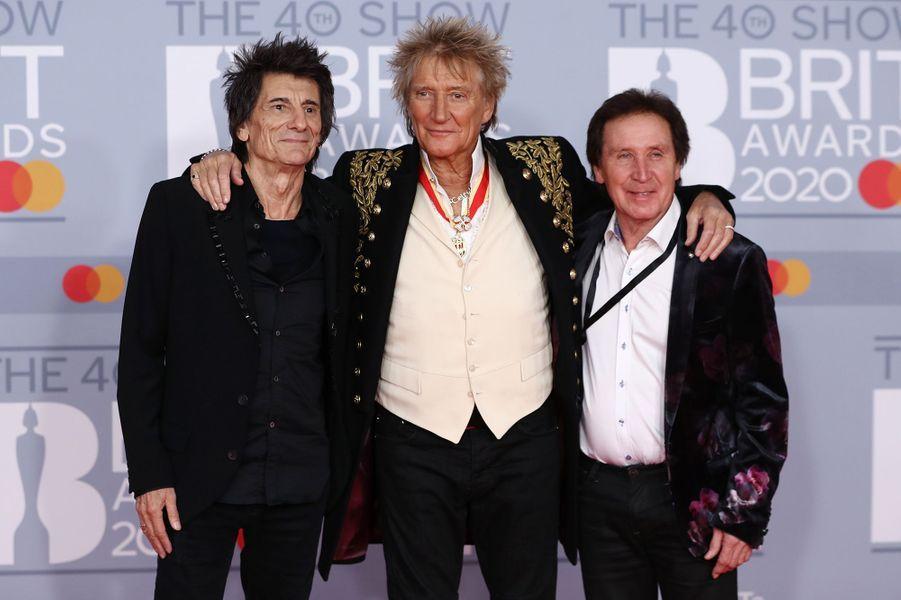 Ronnie Wood, Rod Stewart and Kenney Jones aux Brit Awards à Londres le 18 février 2020