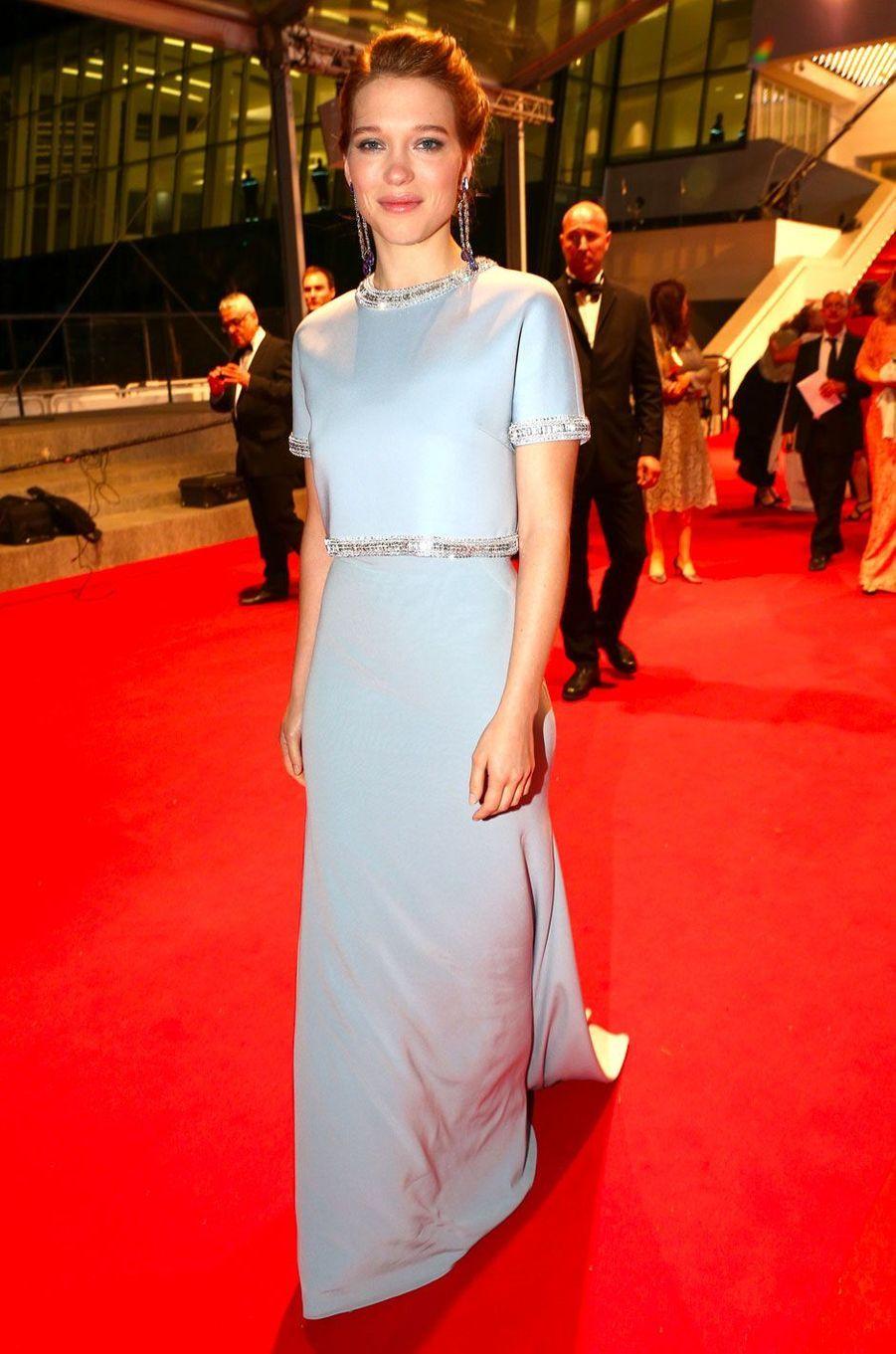 Léa Seydoux au Festival de Cannes le15 mai 2015 en Miu Miu