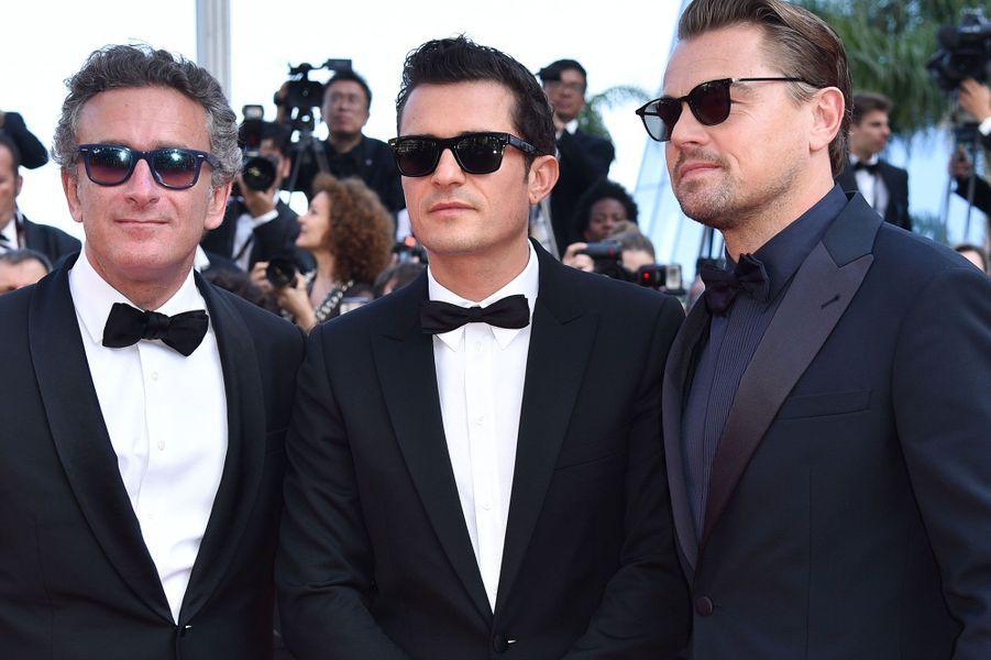 Orlando Bloom et Leonardo DiCaprio et l'homme d'affaires Alejandro Agag à Cannes jeudi
