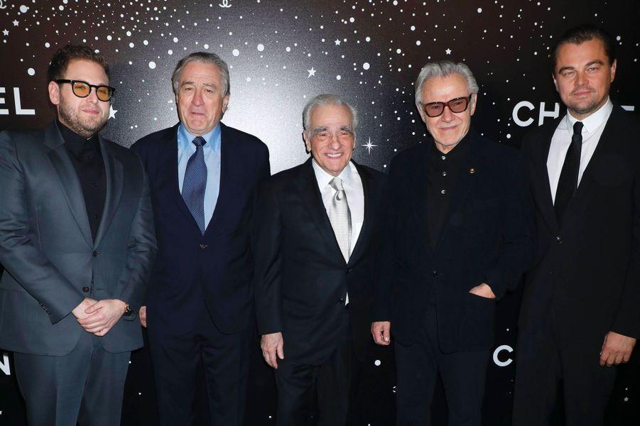 Martin Scorsese avec Jonah Hill, Robert De Niro, Harvey Keitel et Leonardo DiCaprioau MoMA le 19 novembre 2018