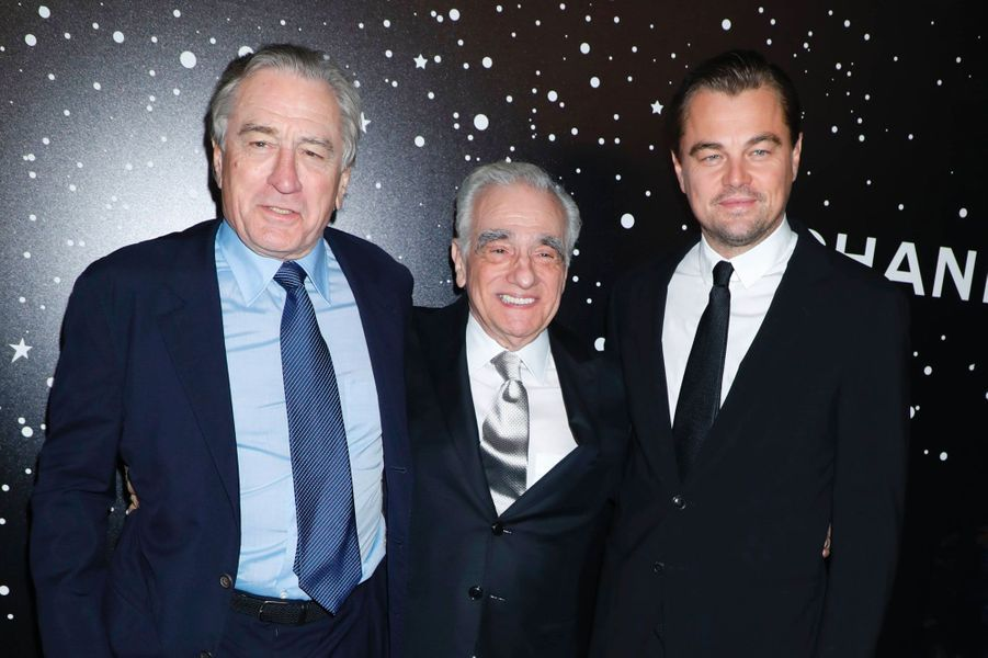 Martin Scorsese avec Robert De Niro et Leonardo DiCaprio au MoMA le 19 novembre 2018