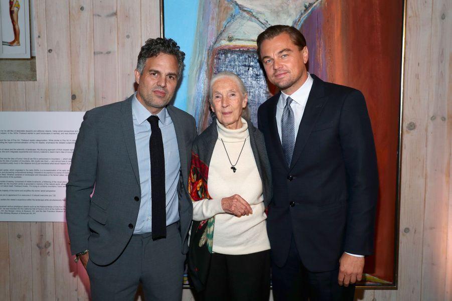 Mark Ruffalo, Jane Goodall et Leonardo DiCaprio au gala de la Leonardo DiCaprio Foundadtion, le 15 septembre 2018 à Santa Rosa