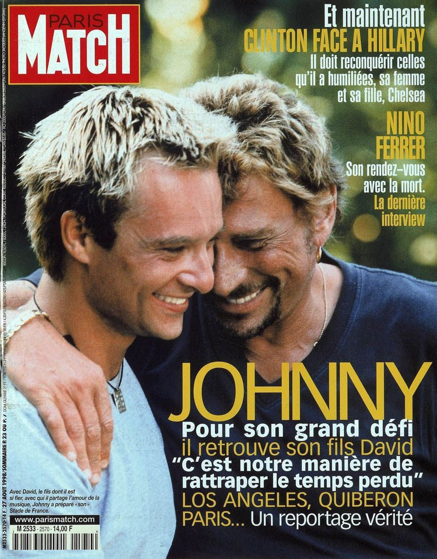 Johnny Hallyday et son fils David en couverture de Paris Match en 1998