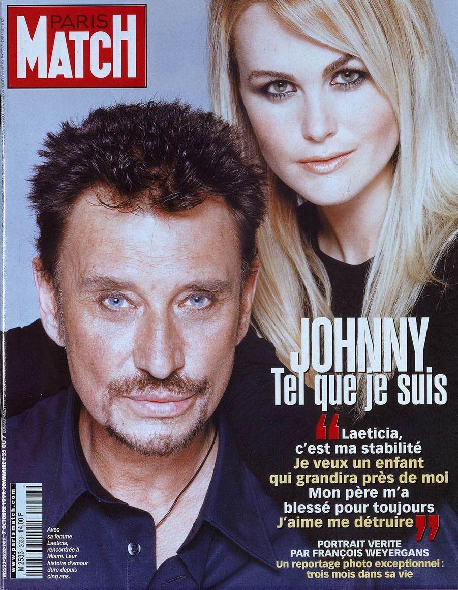 Johnny Hallyday et Laetitia en couverture de Paris Match en 1999
