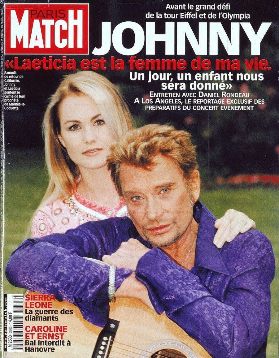 Johnny Hallyday et Laeticia en couverture de Paris Match en 2000
