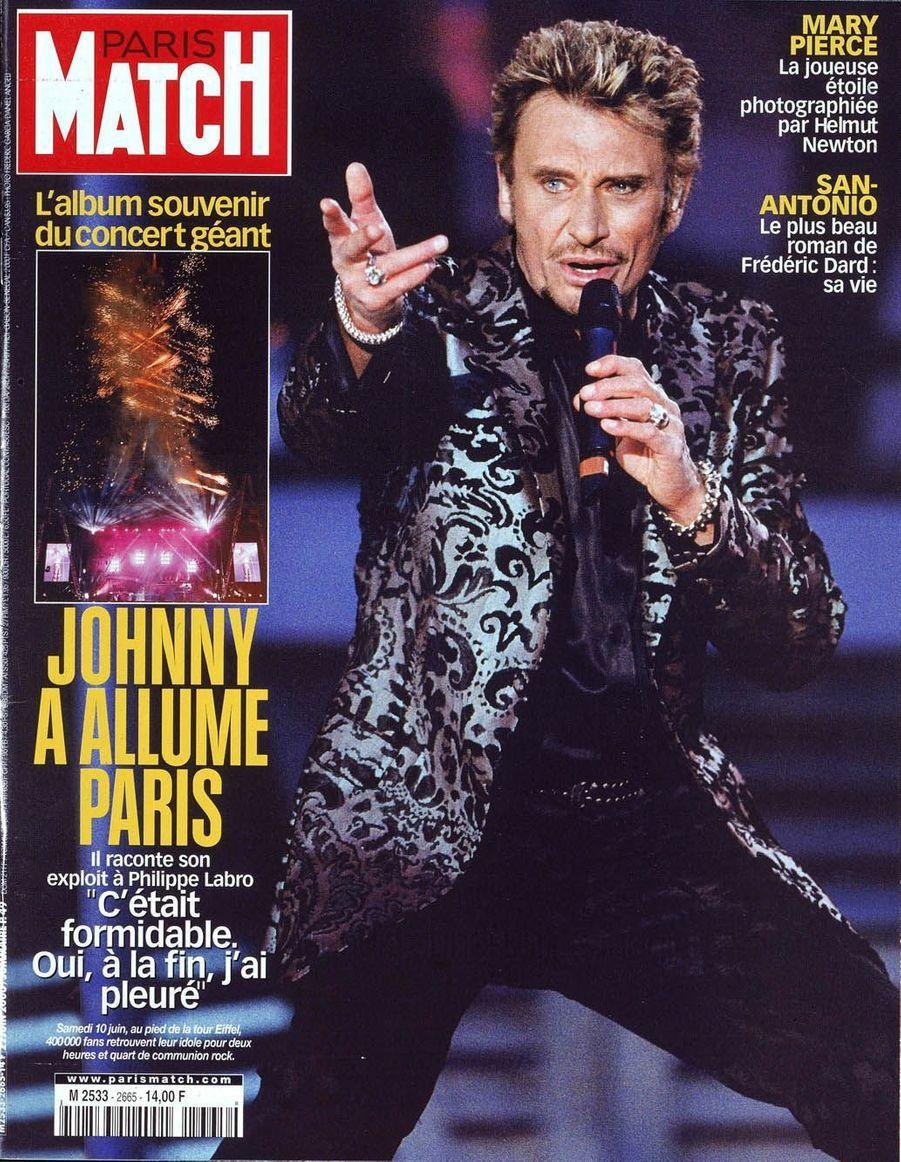 Johnny Hallyday en couverture de Paris Match en 2000