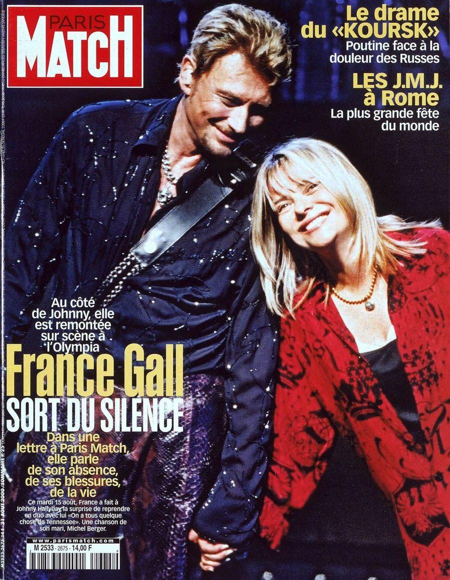 Johnny Hallyday et France Gall en couverture de Paris Match en 2000