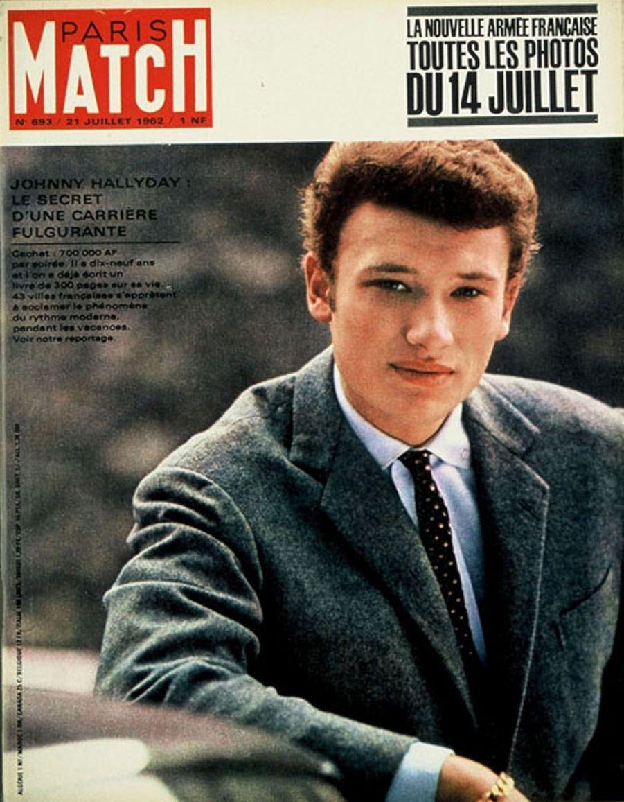 Johnny Hallyday en couverture de Paris Match en 1962