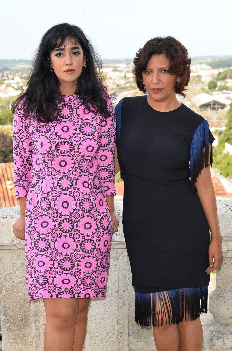 Mariam Al Ferjani et Kaouther Ben Haniaau festival du film francophone d'Angoulême, le 24 août 2017.