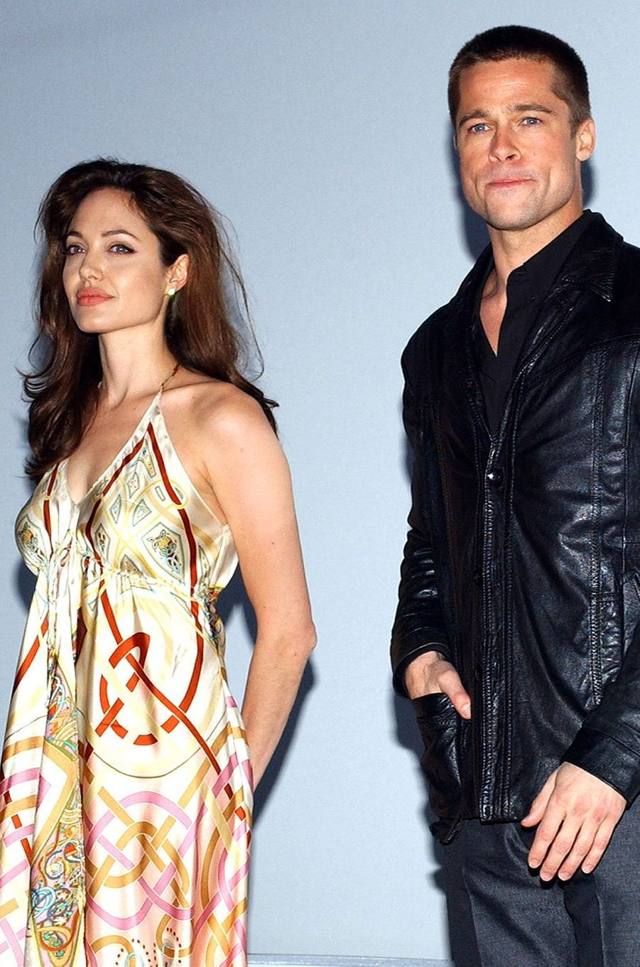 Angelina Jolie et Brad Pitt lors du salon professionnel ShoWest (devenu CinemaCon) à Las Vegas en mars 2005