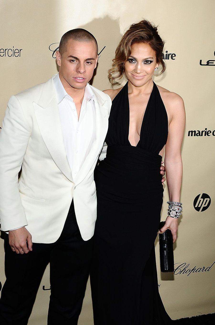 Casper Smart et Jennifer Lopez lors d'une soirée organisée en marge des Golden Globes à Beverly Hills en janvier 2013. Le duo s'est fréquenté entre 2011 et 2016.