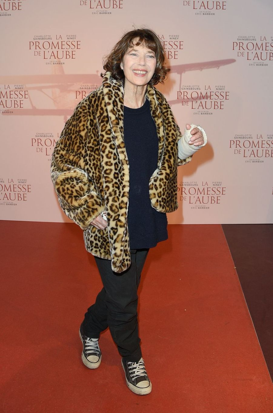 """Jane Birkinà l'avant-première de """"La promesse de l'Aube"""", le 12 décembre 2017 à Paris."""