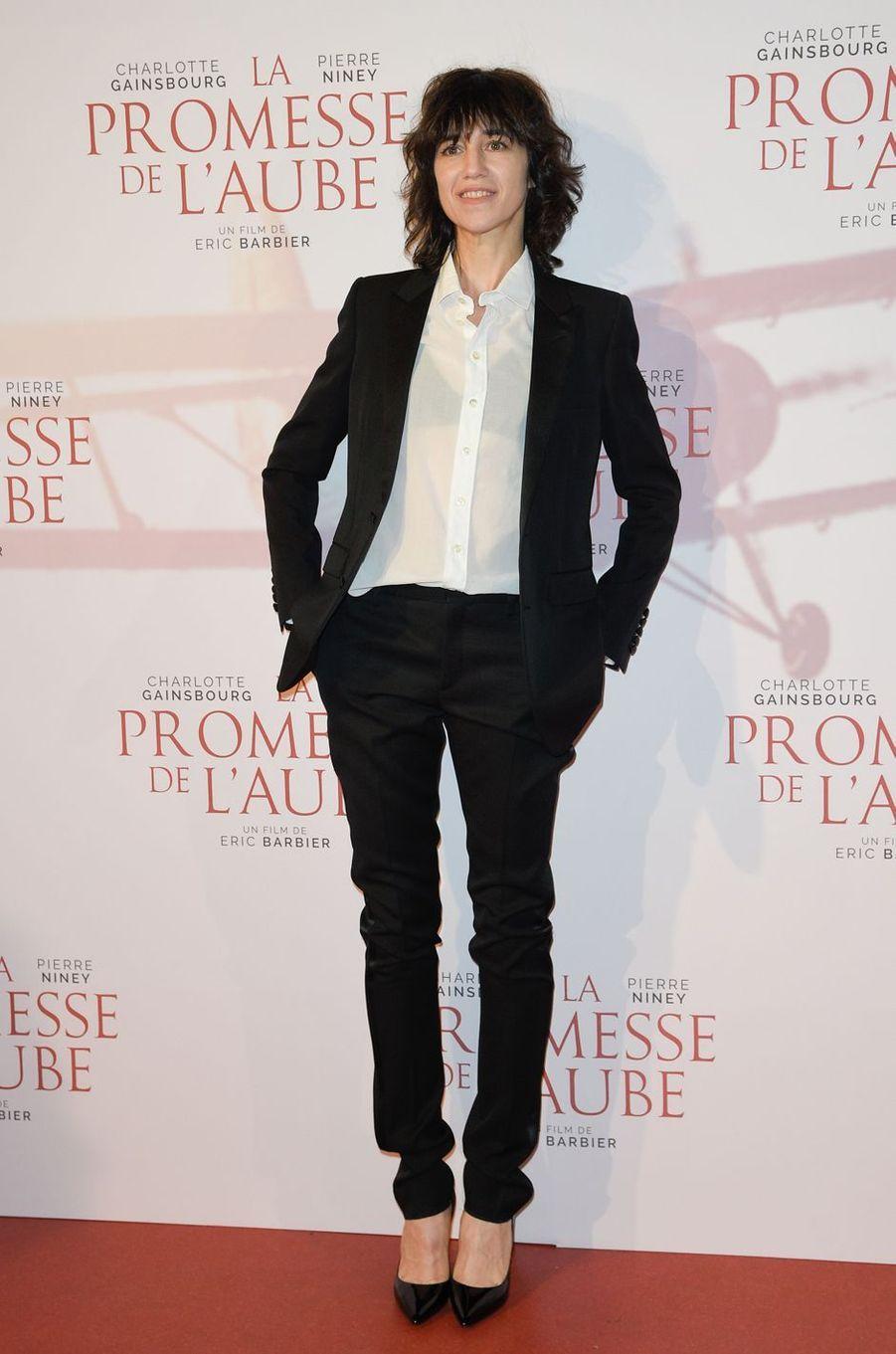 """Charlotte Gainsbourgà l'avant-première de """"La promesse de l'Aube"""", le 12 décembre 2017 à Paris."""
