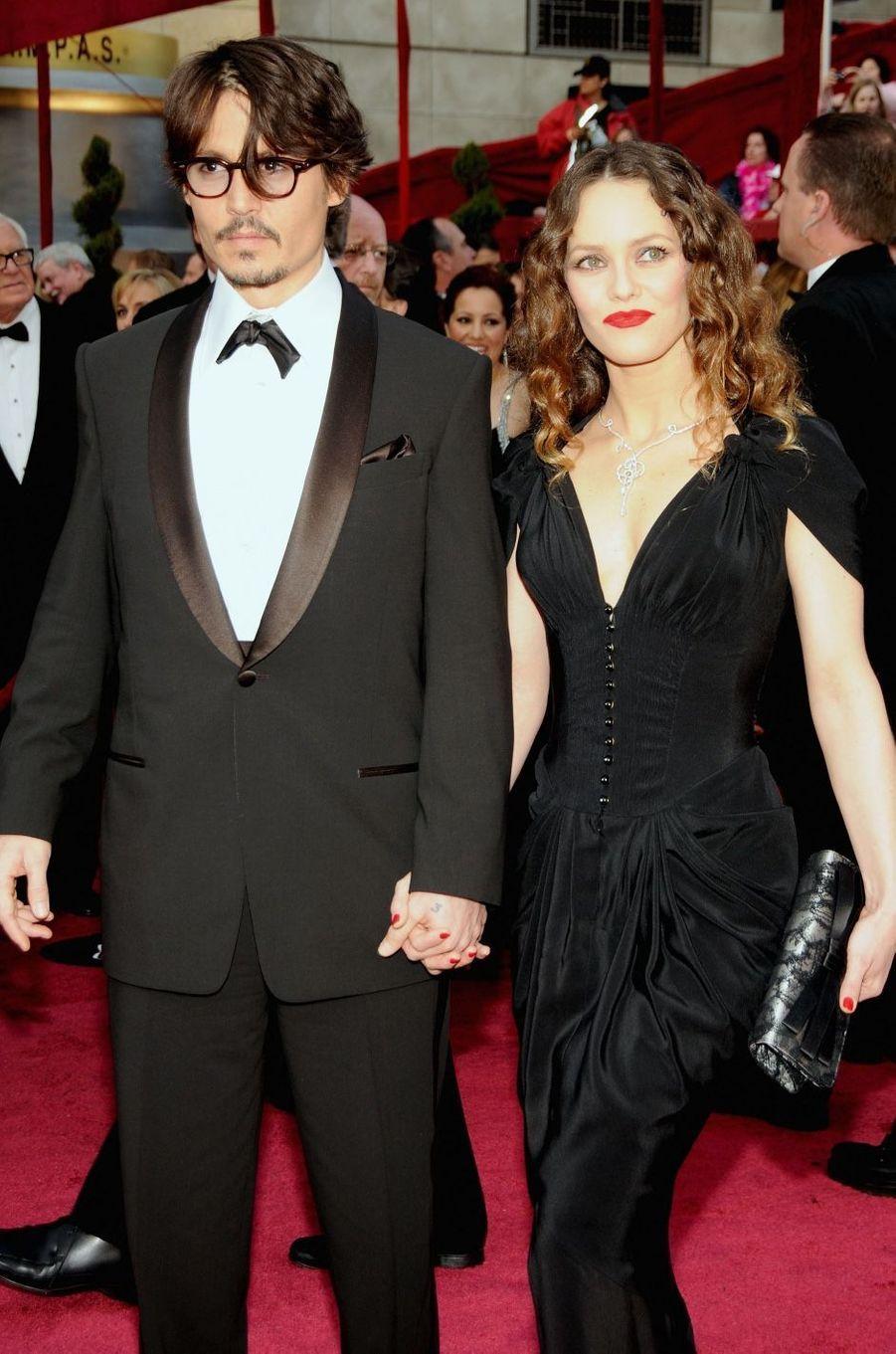 Vanessa Paradis et Johnny Depp en 2008. Leur relation a duré de 1998 à 2012. Ensemble, ils ont eu deux enfants, Lily-Rose et Jack.