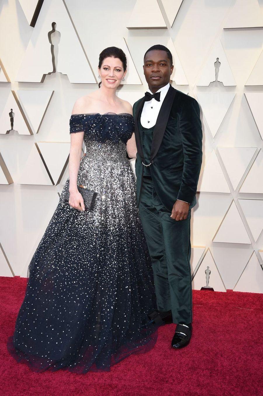 Jessica et David Oyelowosur le tapis rouge de la 91e cérémonie des Oscars le 24 février 2019