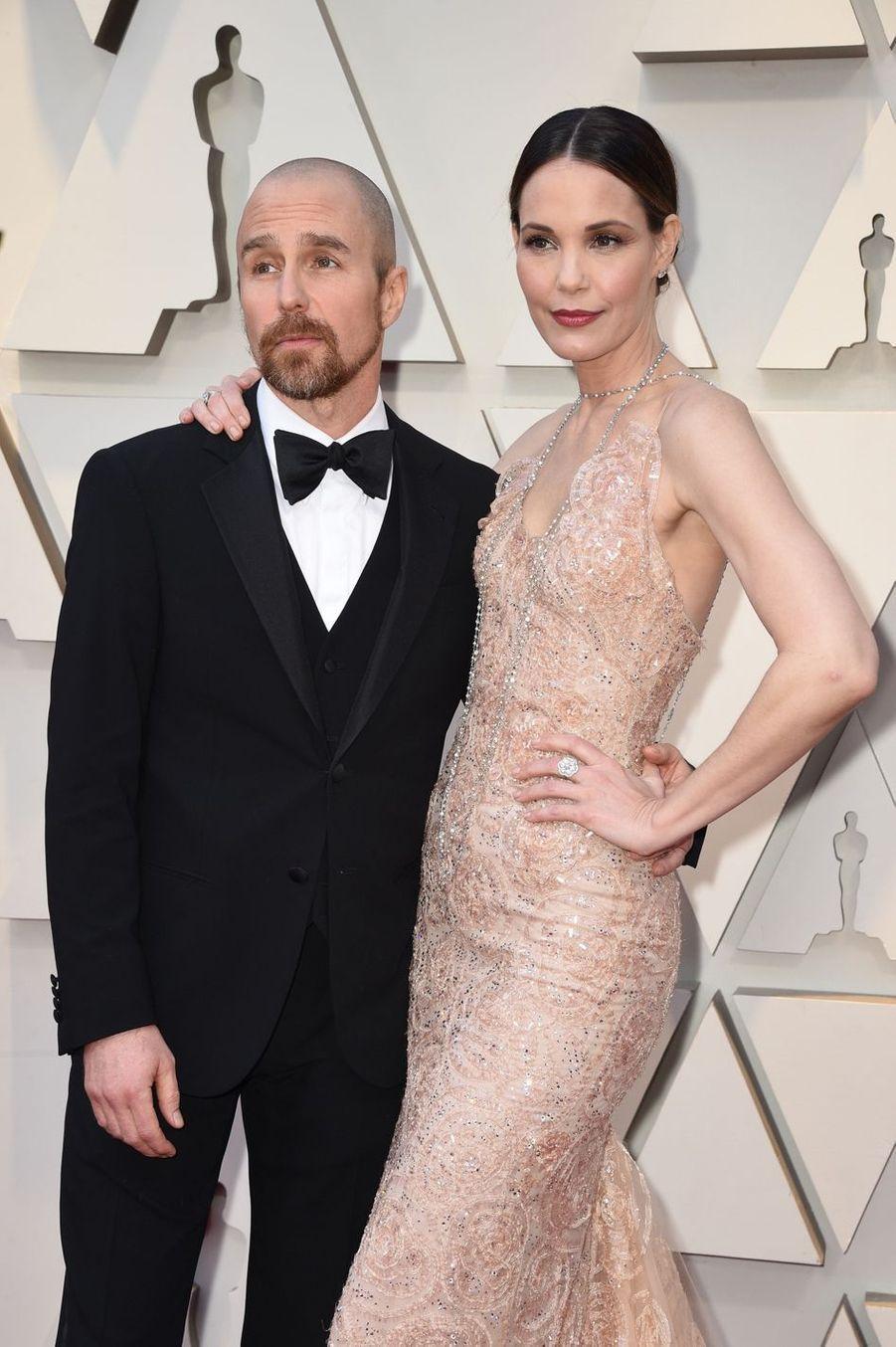 Sam Rockwell et Leslie Bibbsur le tapis rouge de la 91e cérémonie des Oscars le 24 février 2019