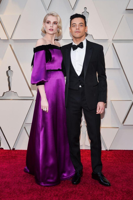 Lucy Boynton et Rami Maleksur le tapis rouge de la 91e cérémonie des Oscars le 24 février 2019