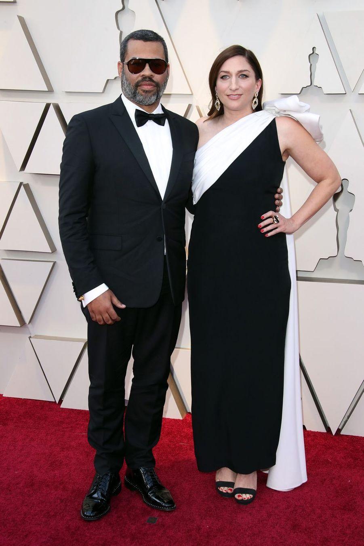 Jordan Peele et Chelsea Perettisur le tapis rouge de la 91e cérémonie des Oscars le 24 février 2019