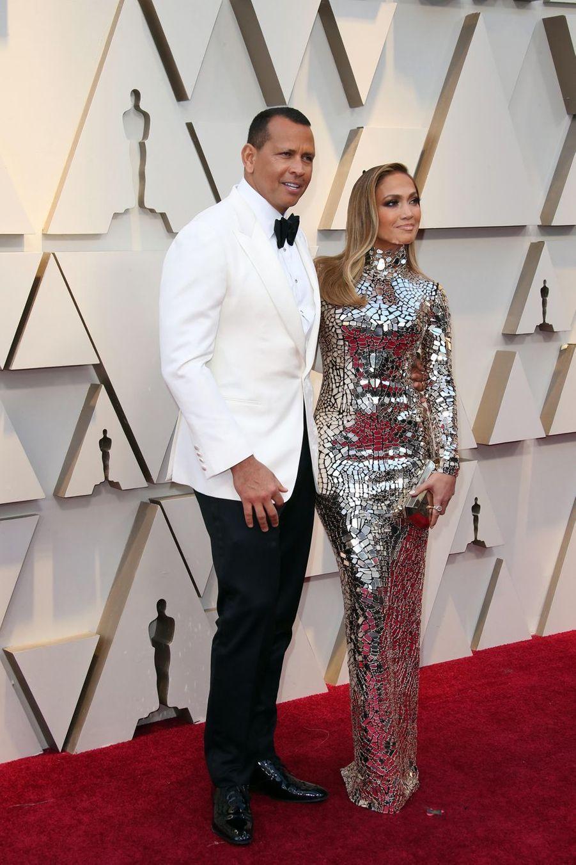 Jennifer Lopez et Alex Rodriguezsur le tapis rouge de la 91e cérémonie des Oscars le 24 février 2019