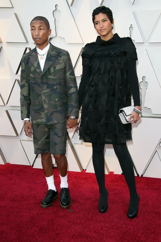 Pharrell Williams et HelenLasichanhsur le tapis rouge de la 91e cérémonie des Oscars le 24 février 2019