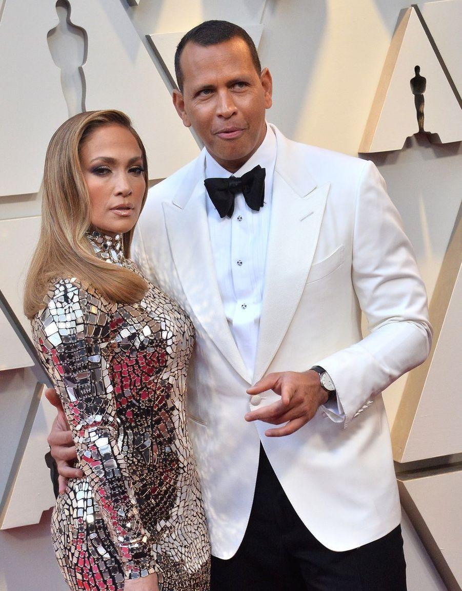 Jennifer Lopez et Alex Rodriguez sur le tapis rouge de la 91e cérémonie des Oscars le 24 février 2019