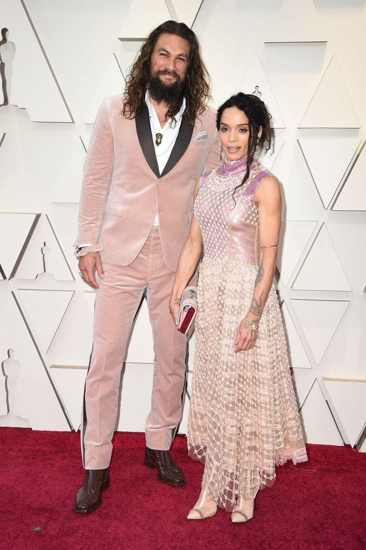 Jason Momoa et Lisa Bonetsur le tapis rouge de la 91e cérémonie des Oscars le 24 février 2019