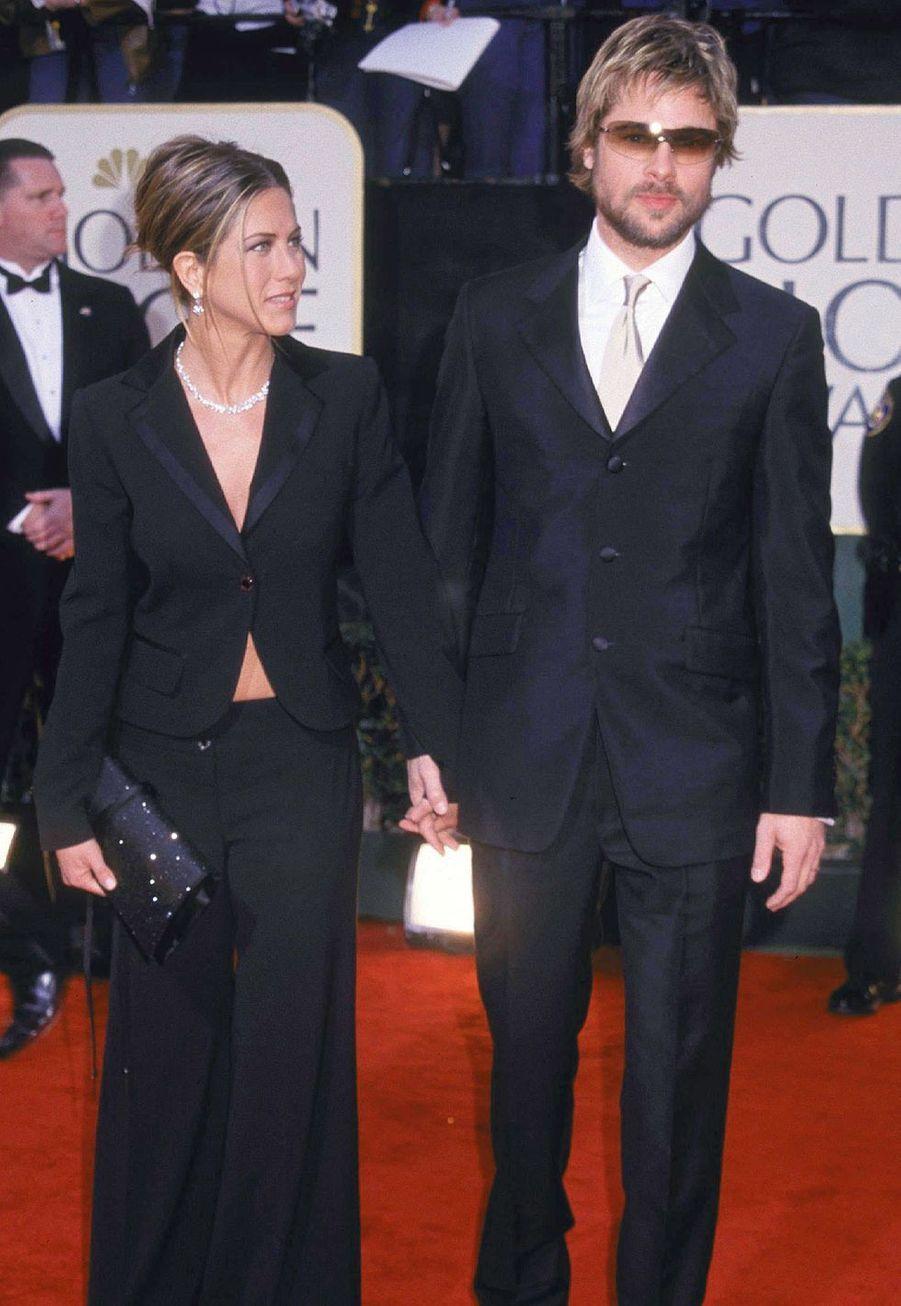 Jennifer Aniston et Brad Pitt aux Golden Globes à Los Angeles en janvier 2002