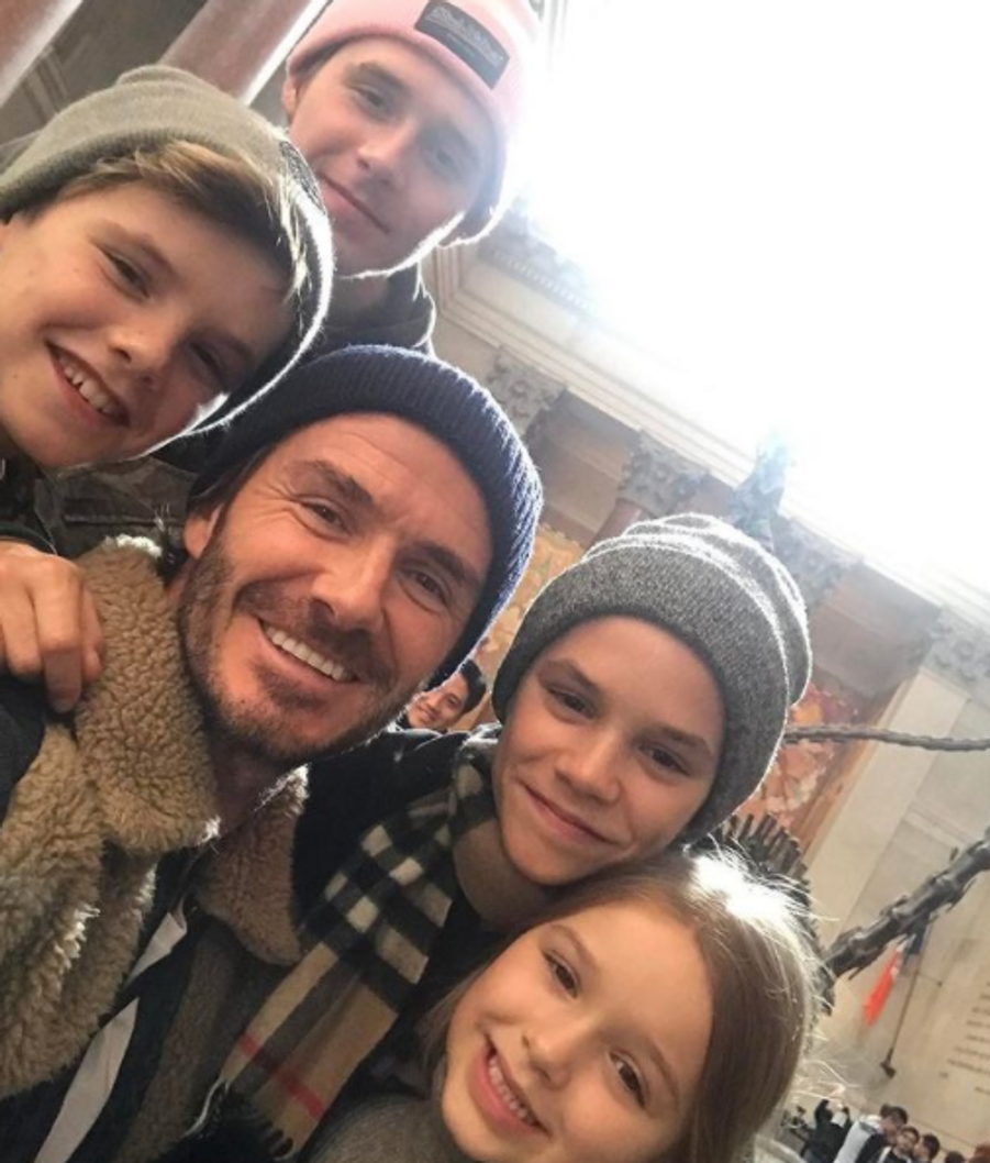 Brooklyn, Cruz, Romeo et Harper Beckham avec leur père David Beckham en février 2017