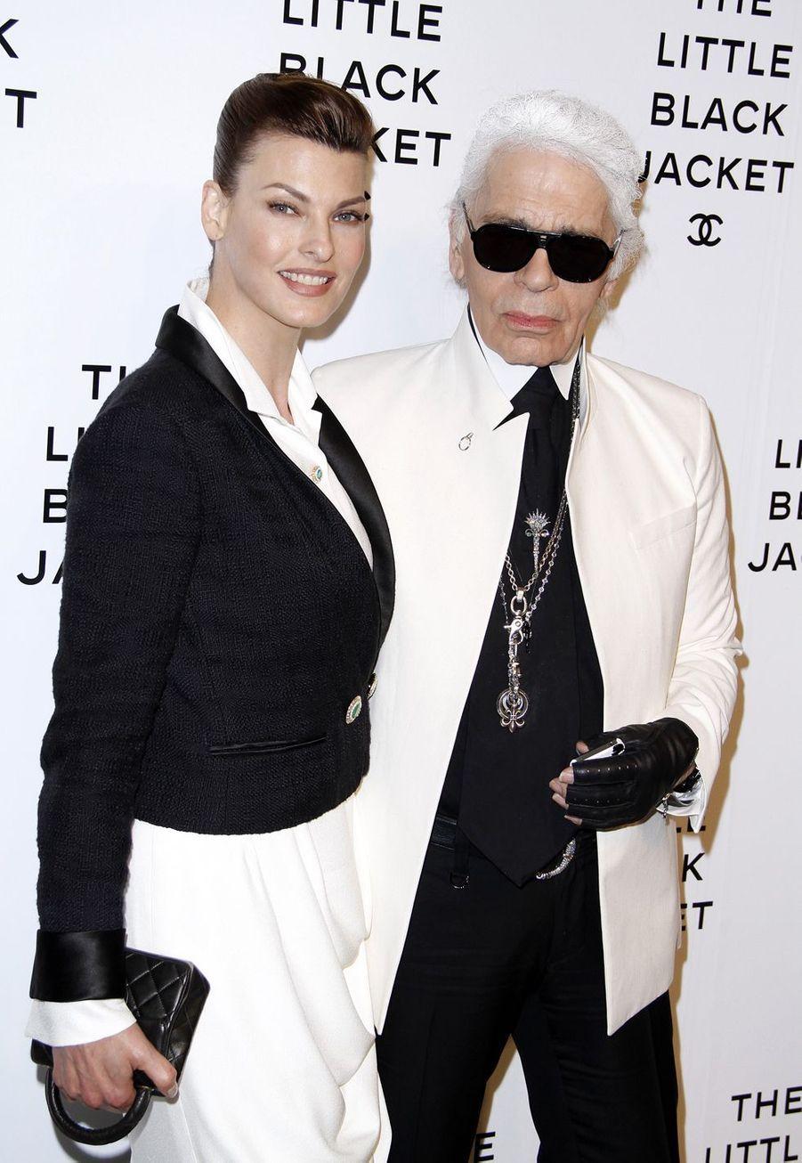 Avec Linda Evangelista en 2012