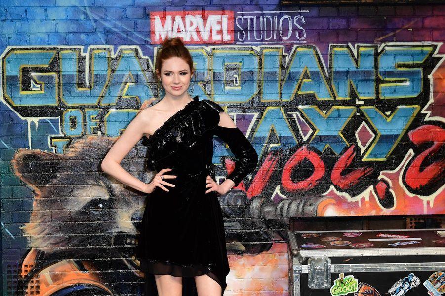"""Karen Gillan à l'avant-première des """"Gardiens de la Galaxie : volume 2"""" à Londres."""