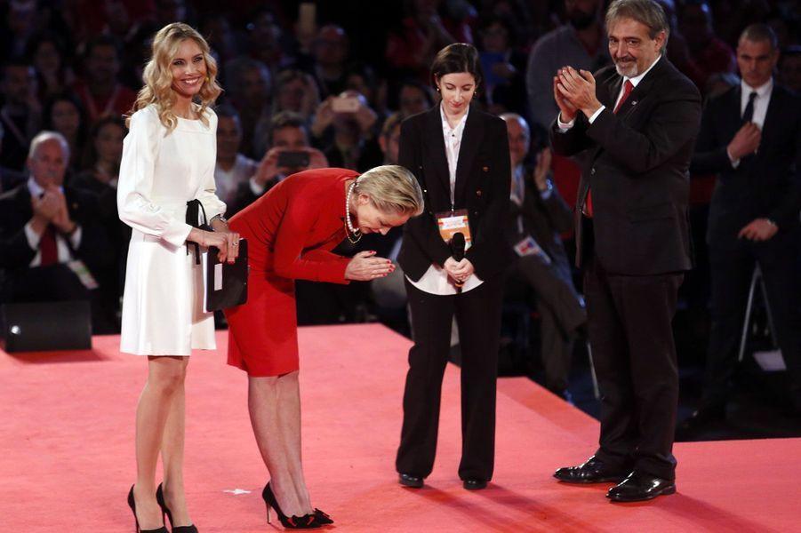 Sharon Stone a été distinguée par la Croix-Rouge italienne dimanche