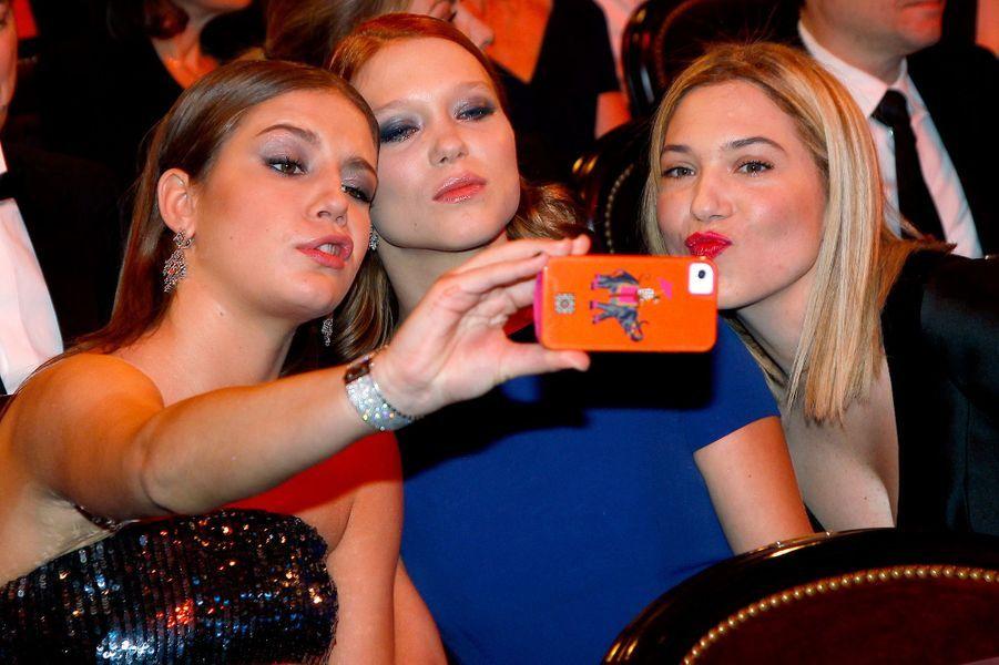 Adele Exarchopoulos, Léa Seydoux et sa soeur Camille aux César en février 2014