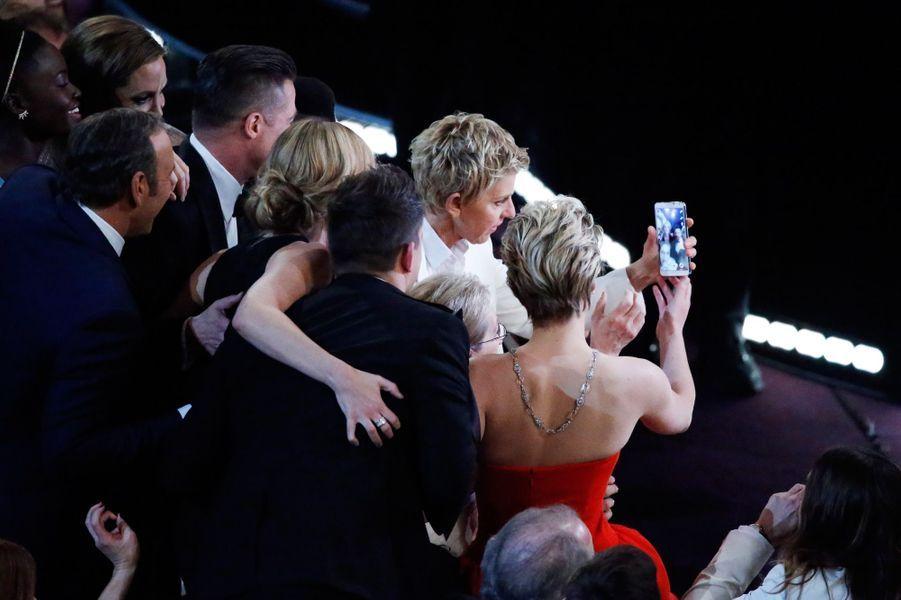 Ellen Degeneres, Brad Pitt, Jennifer Lawrence, Matt Damon, Angelina Jolie, le 3 mars 2014